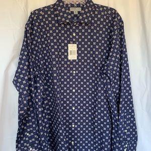 Thomas Dean NWT Shirt Blue W/Cubes Long Sleeve XXL